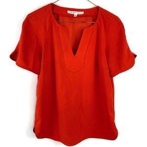 Trina Turk Orange Short Sleeve Blouse Top